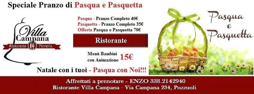 Villa Campana Pozzuoli - Pranzo Pasqua e Pasquetta Napoli 2018