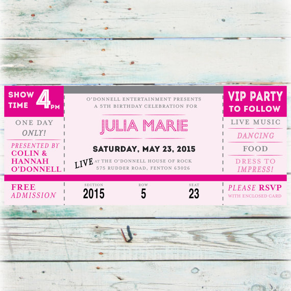 DIY Birthday Invitation - Printable Concert Ticket Birthday