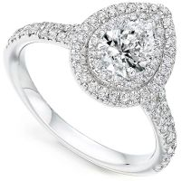 Pear-Shaped Double Halo Diamond Engagement Ring