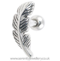 Surgical steel feather stud cartilage earrings :: Serenity ...