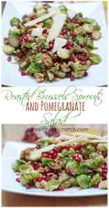 The perfect Festive, Healthy, Holiday Salad!  Roasted Brussels Sprouts with buttery walnuts, sweet tart pomegranates, and topped with salty Parmesan Cheese
