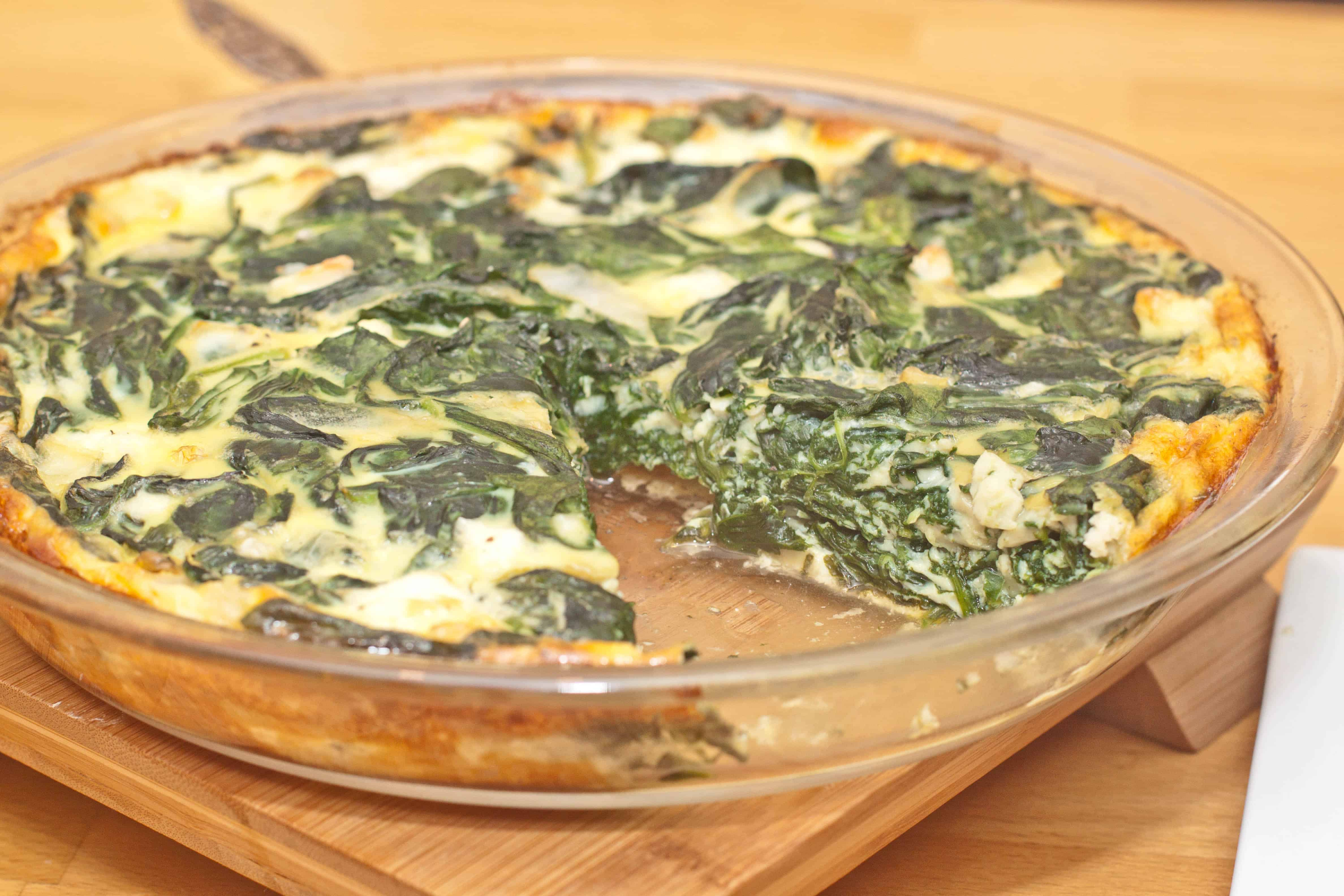 Crustless Spinach and Feta Quiche - Served From Scratch