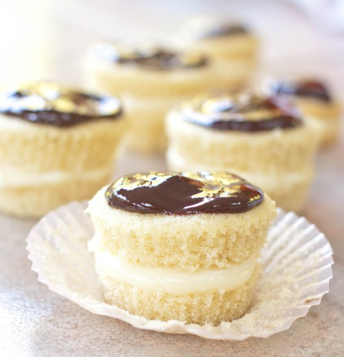 Boston Cream Pie baked into adorable cupcakes with from scratch vanilla pudding and ganache