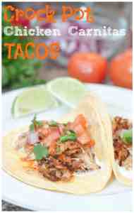 Crock Pot Chicken Carnitas Tacos! Let the meat cook and develop flavors all day while you're at work for these super delicious tacos perfect for any taco night!
