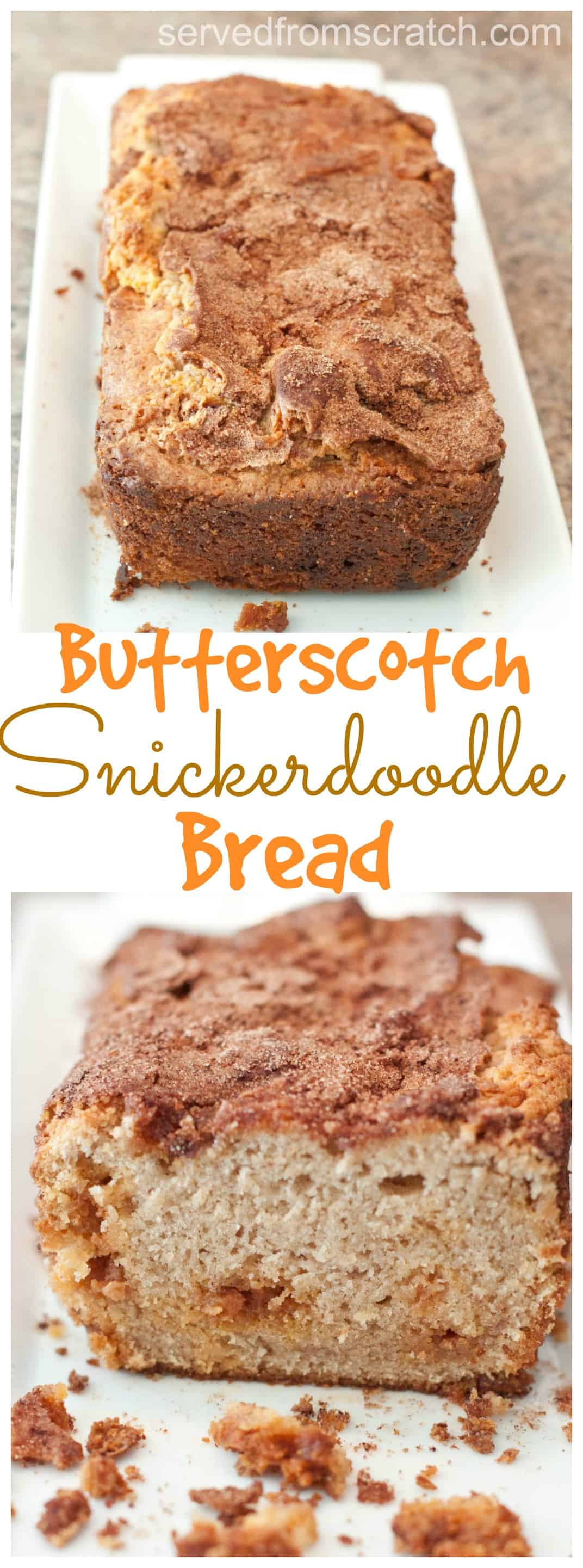 Your favorite cinnamon cookie baked into a delicious sweet loaf with butterscotch chips!