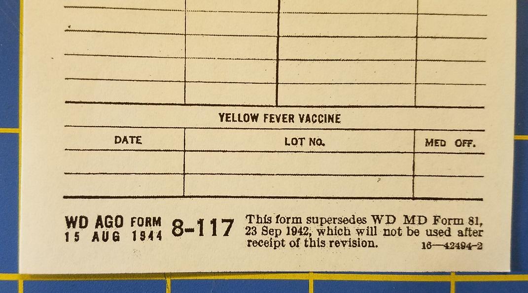 Immunization Register and Medical Data Form 1944 \u2013 SERVICE OF SUPPLY
