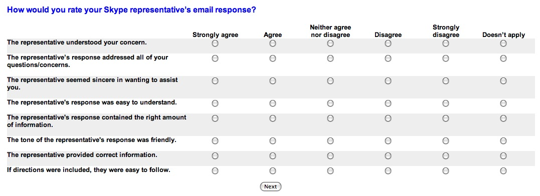Feedback Survey from Skype Service Untitled