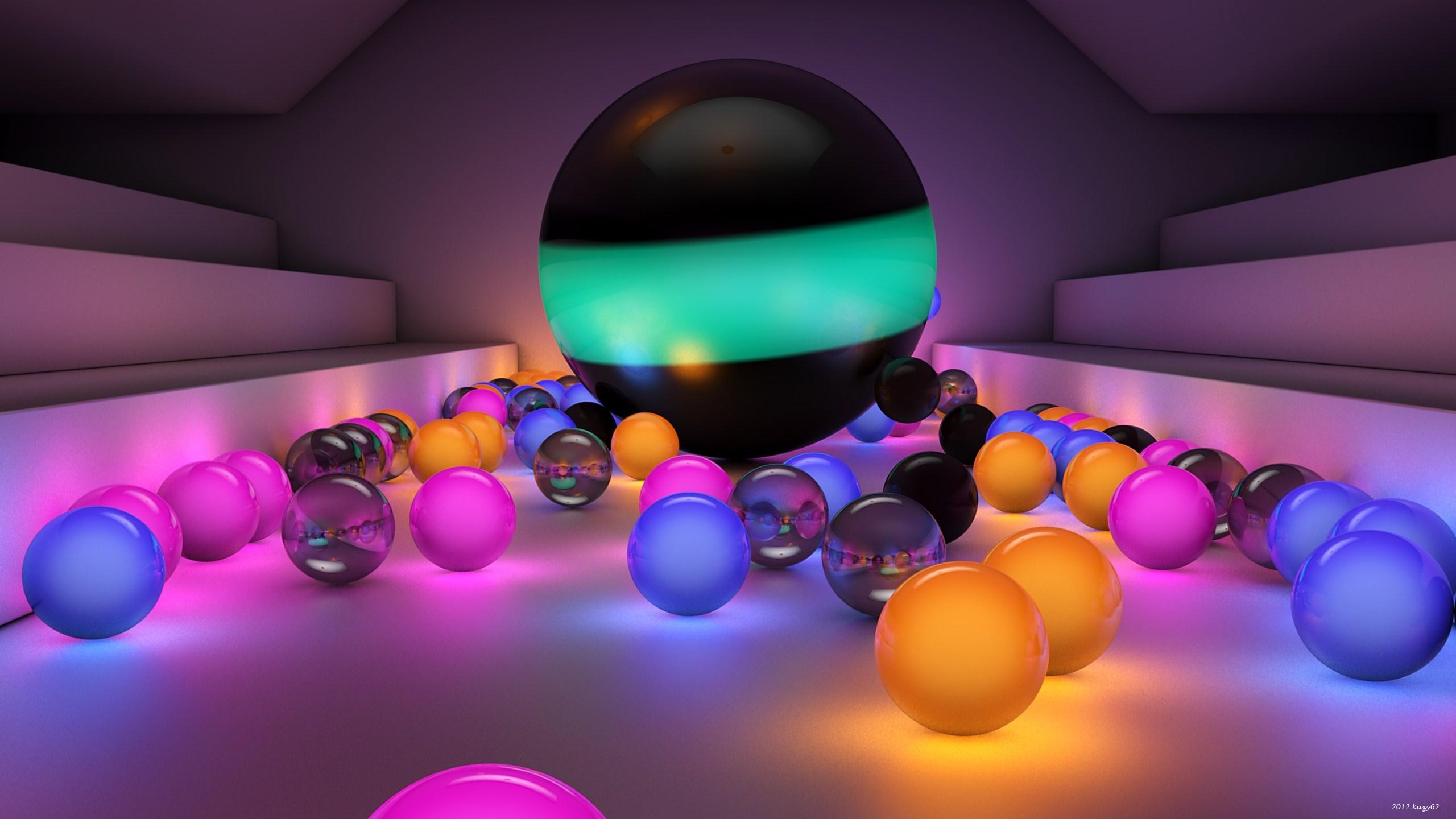 Oppo 3d Wallpaper Balls Size Background 2560 X 1440