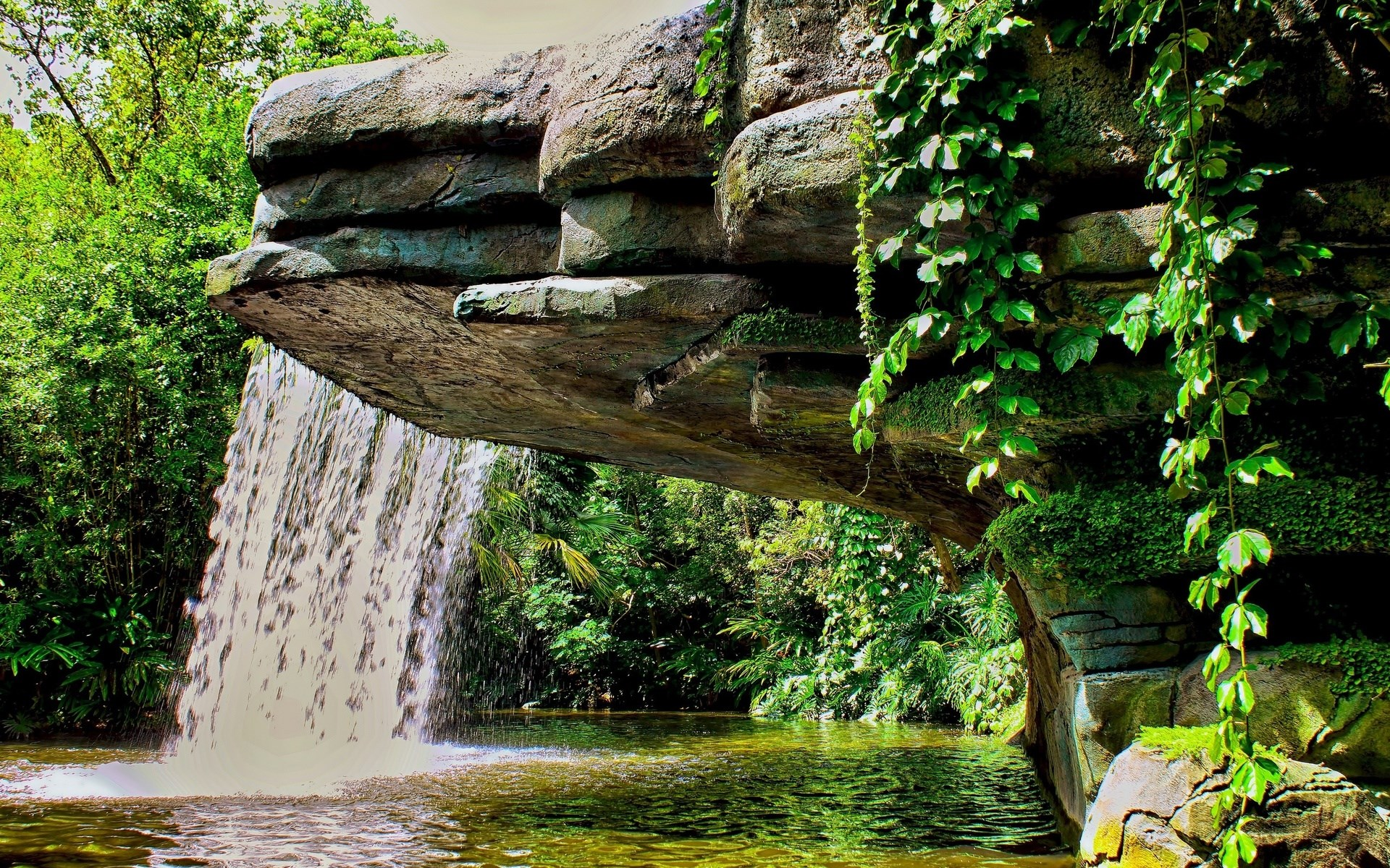 Fall Wallpaper For Windows 10 Waterfall Pond Vegetation Landscape 1920 X 1200