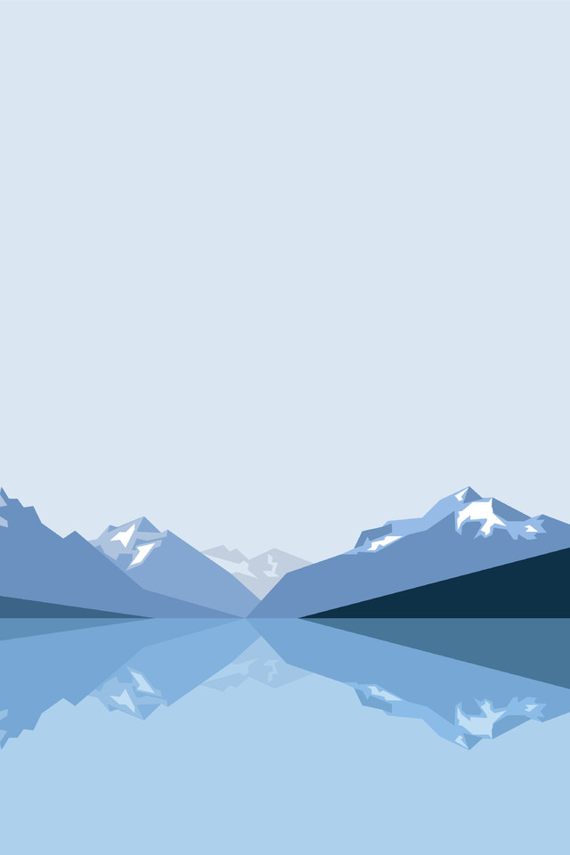 3d Cube Wallpaper Phone Minimalist Blue Mountains 2x Wallpaper 640 X 960