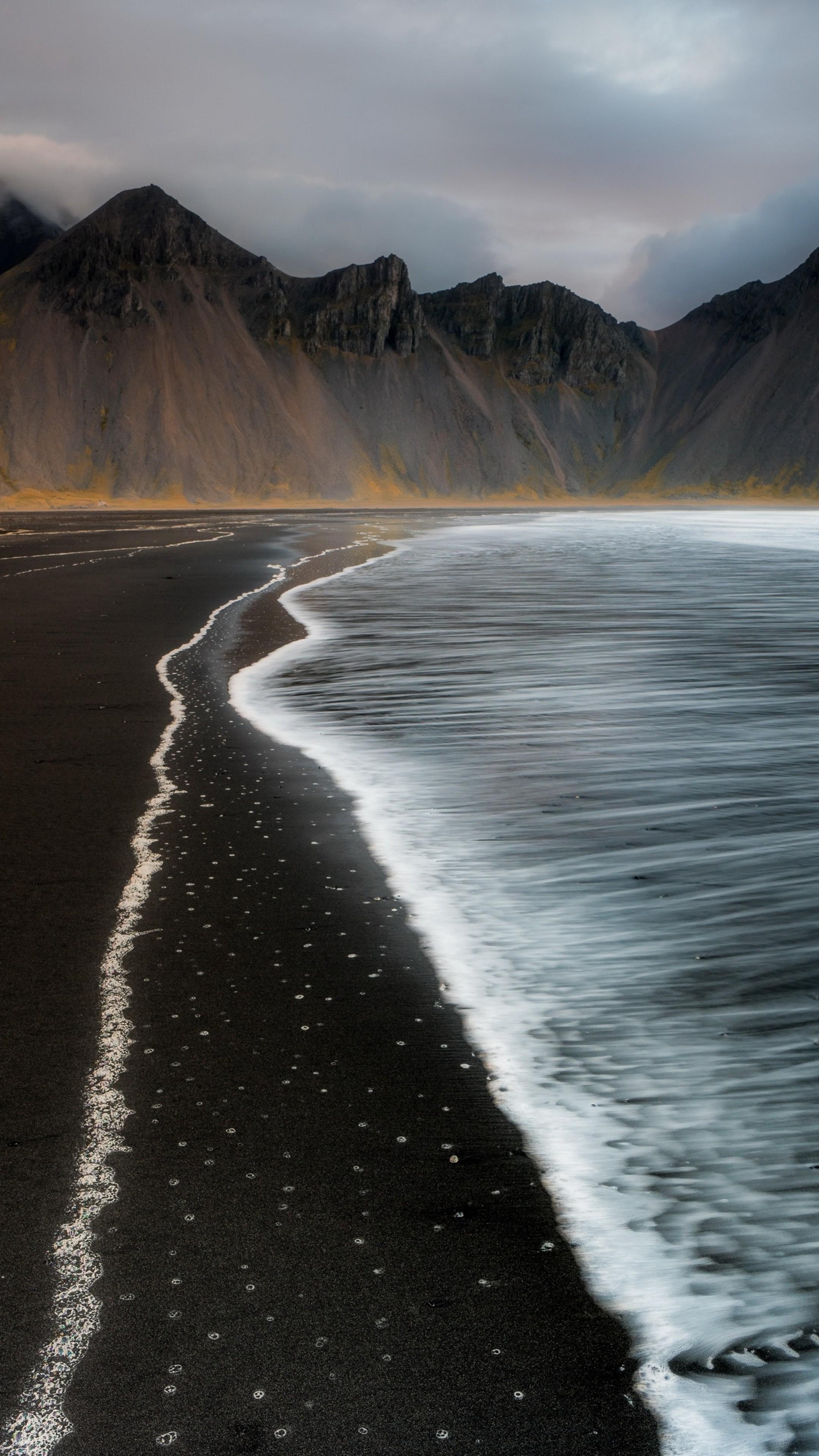 3d Hd Wallpapers For Laptop Beach Foam Iceland Mountain Nature T0 Wallpaper 2160x3840