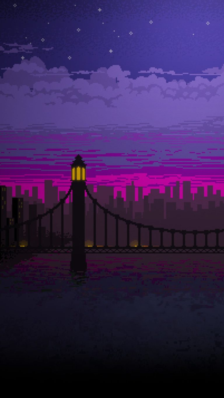 Wallpaper Iphone Hd Keren Pixel Art Bridge Night Cc Wallpaper 1080x1920