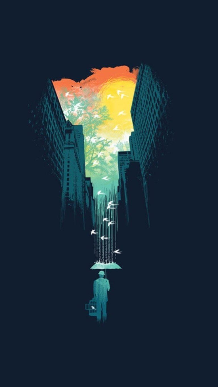 3d Wallpaper For S9 Plus Rain Umbrella Birds City Building Sky Cages Artwork