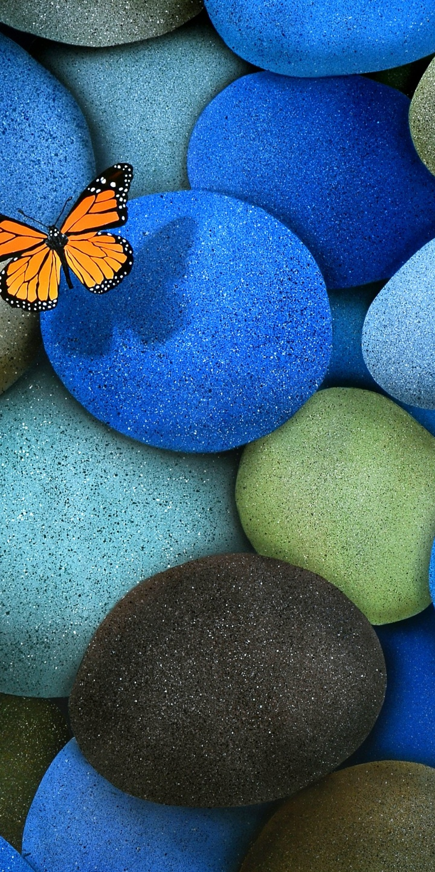 Oppo 3d Wallpaper Blue Brown Butterfly Stones 720x1440