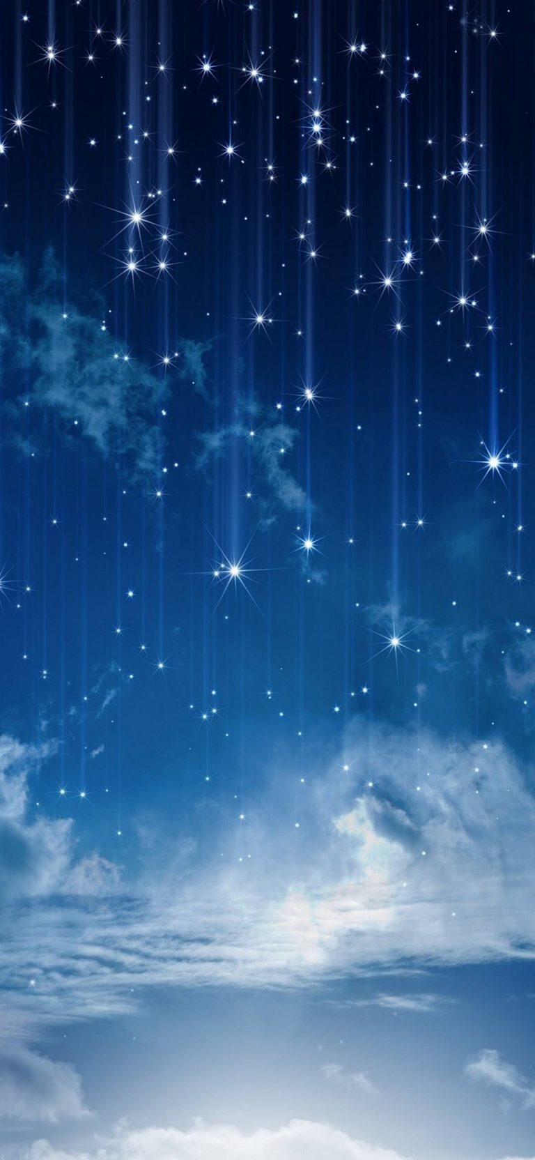 Wallpaper 3d Samsung Sky Moonlight Nature Night Stars Clouds 1080x2340