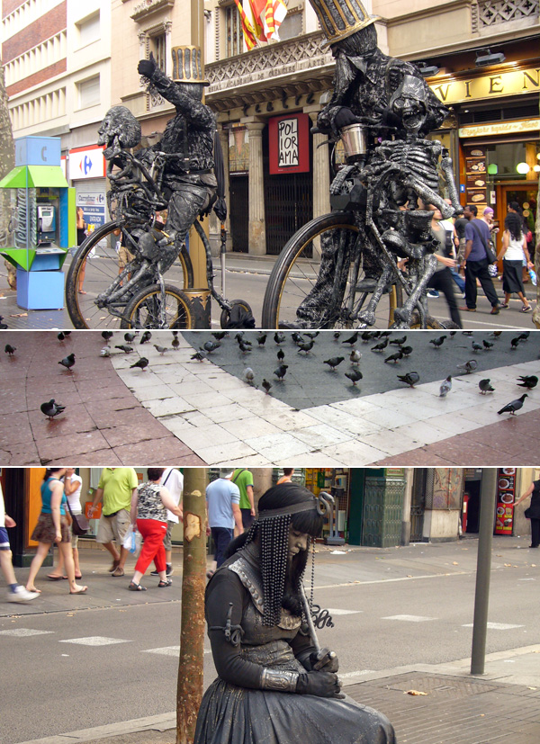 blog voyage australie espagne barcelone streetart street-art statue ramblas