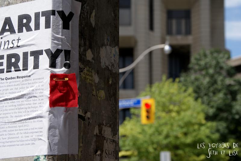 blog pvt canada whv toronto ontartio couple voyage travel tour du monde carre rouge printemps erable square red student protest