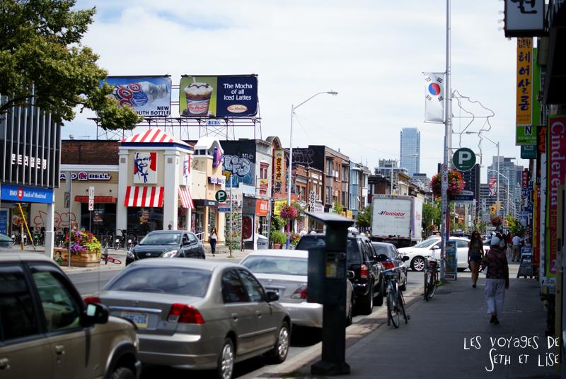blog pvt canada whv toronto ontartio couple voyage travel tour du monde koreatown street rue