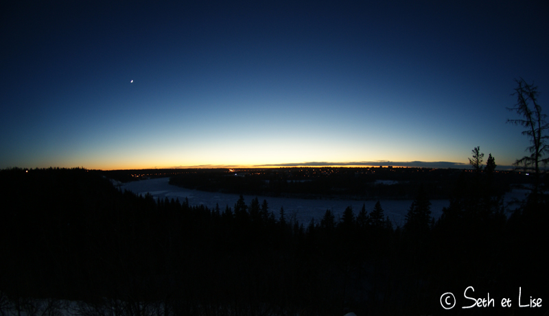 blog voyage canada photo pvt edmonton hiver river valley sunset coucher soleil 8mm