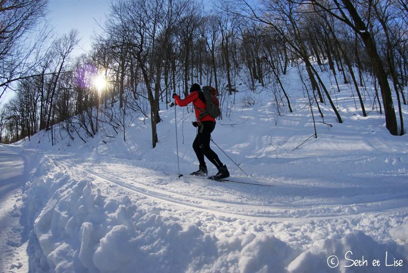 un skieur sur le mont royal