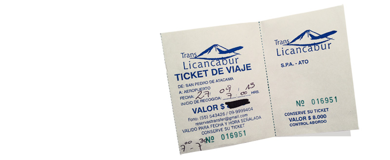 ticket de navette licancabur