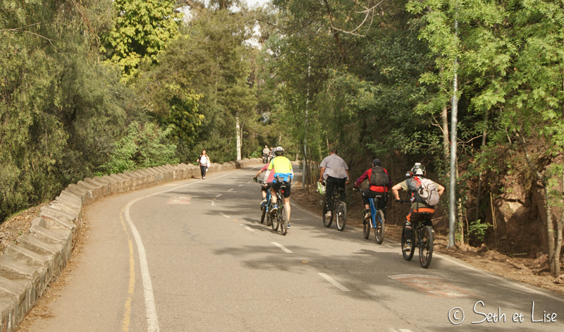 des cyclistes sur le cerro san cristobal