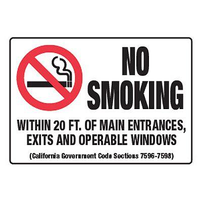 No Smoking Within 20 Ft Of Entrances - California No Smoking Signs