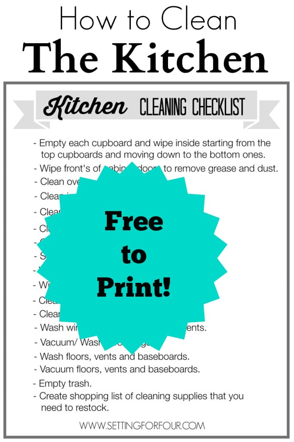 Kitchen Cleaning Checklist Free Printable - Setting for Four