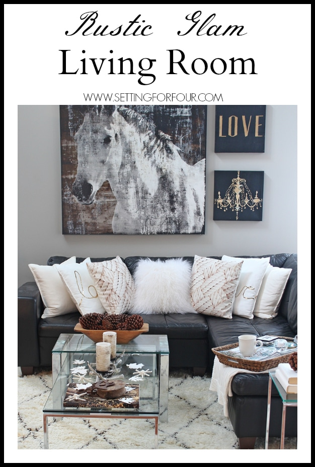 Rustic Glam Living Room + New Rug - Setting for Four - grey living room rug