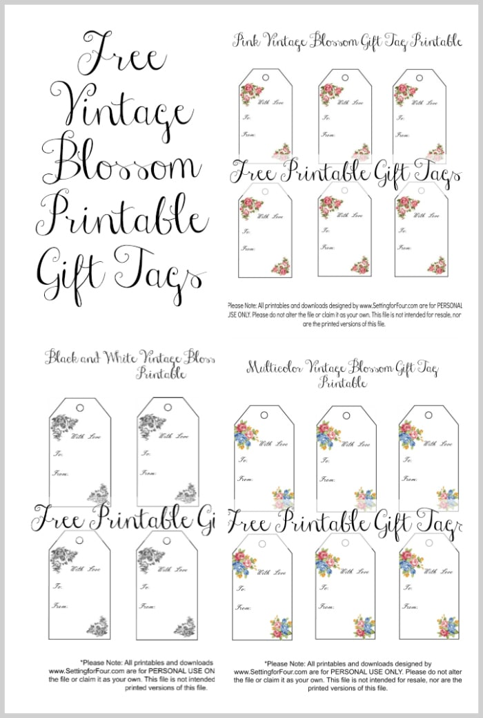 Vintage Blossom Free Printable Gift Tags - Setting for Four