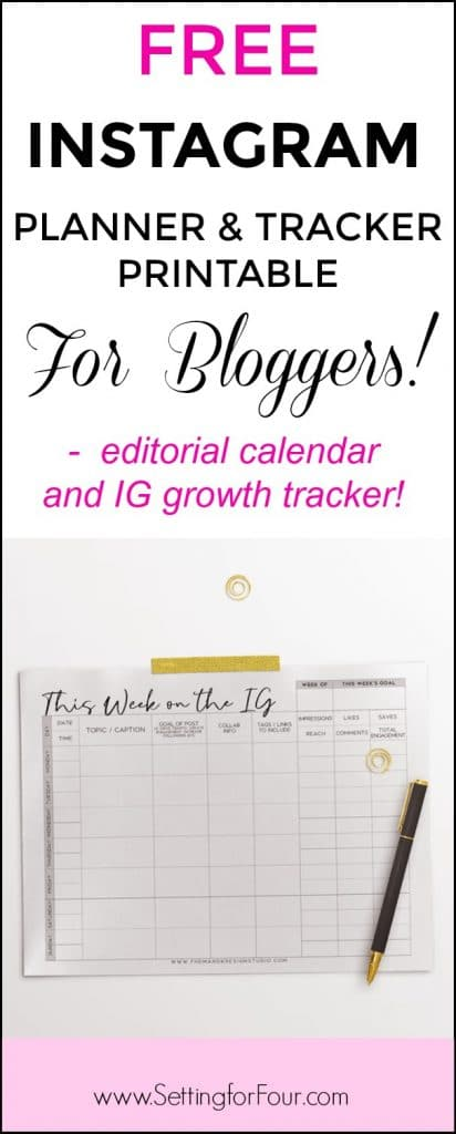 Free Instagram Printable Planner and Tracker for Bloggers - Setting
