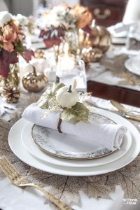 Elegant White & Gold Thanksgiving Table Setting - Setting ...
