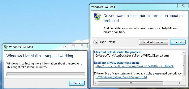 Windows Live Mail has stopped working\