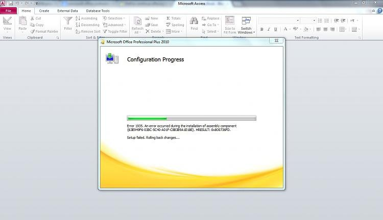 Microsoft Professional Plus 2010 Office Configuration Error