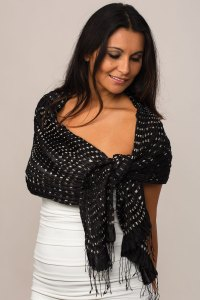 Black and White Silk Scarf Handmade in India with Pleated