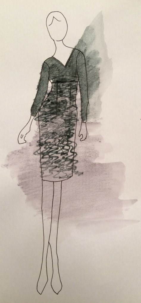 High Waisted Dress - Sketch