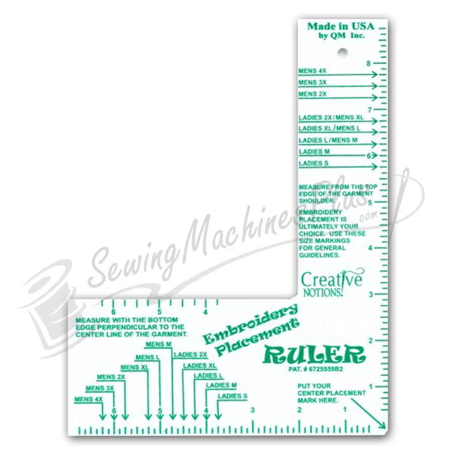 picture about Printable Embroidery Placement Ruler titled √ Embroiderers Place Ruler Grownup