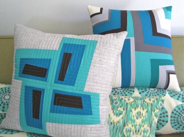 Sewkatiedid/Tunnel Vision Modern Log Cabin Pillow