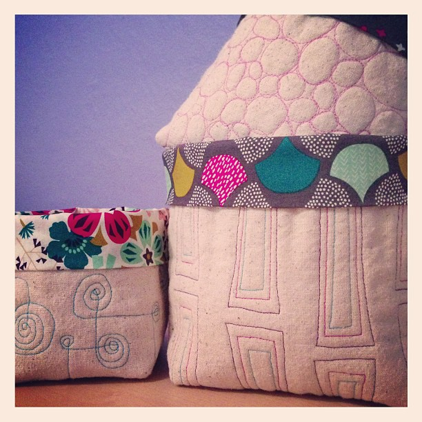 SEW KATIE DID_Free motion quilted baskets