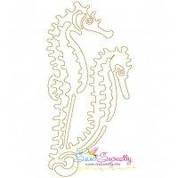 One Line Vintage Redwork Stitch Sea Animals Embroidery ...