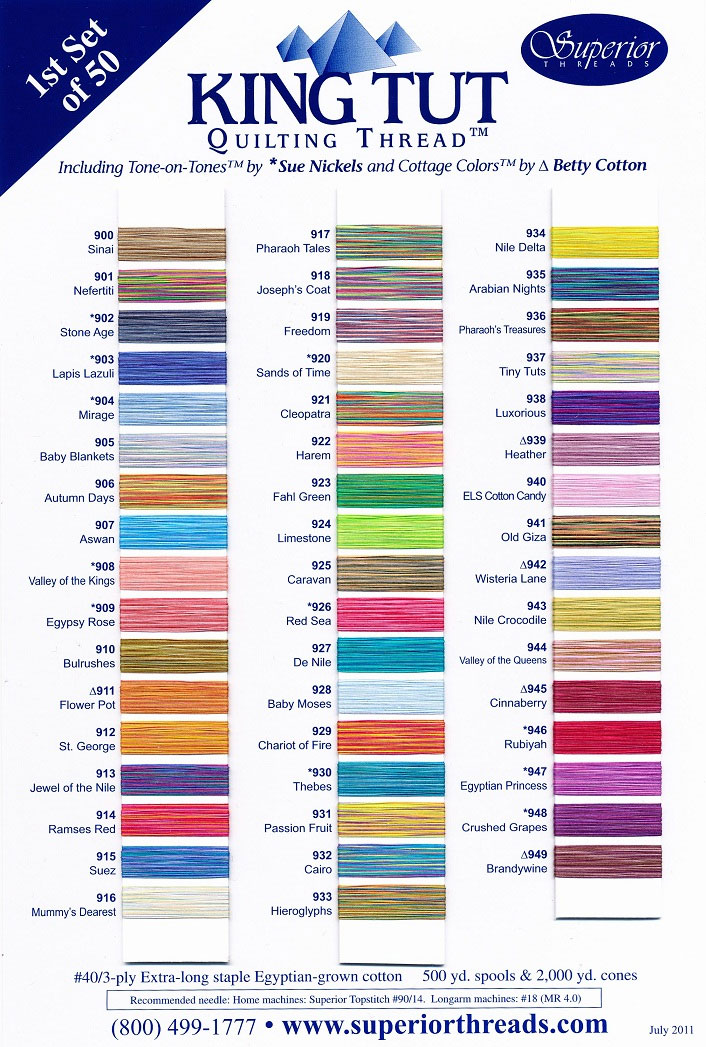 Superior King Tut #1 Actual Thread Color Chart