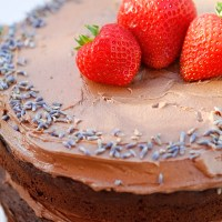 Chocolate, Lavender and Cherry Cake