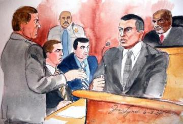 """Here, trigger man Johannes Mehserle's defense attorney, Michael Rains, questions BART Officer Tony Pirone as Mehserle (left) and Judge Donald Clay look on. On cross examination, Pirone admitted that the position Oscar Grant was in just seconds before he was shot made it impossible for him to have grabbed and used a weapon even if he had had one, the Oakland Tribune reported. """"I didn't see the hands, so I didn't see a threat,"""" Pirone said. """"It didn't pose a threat to me ... or any other officer."""" – Drawing: Joan Lynch"""