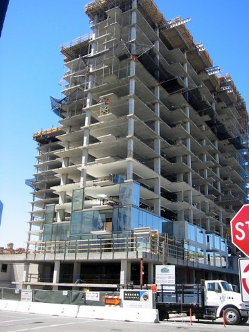 This is Webcor's Axis condo project in San Jose. The noose was hanging at the entrance to the garage in the lower left corner of the building. – Photo: Webcor.com