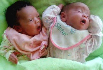 Black Infant Health twins Trinity and Serenity Chambers at birth.