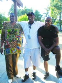 Wanda's brother, Rahim Sabir (middle), is enjoying the Sabir-Edwards family reunion July 25 with his best friends, Kenneth Arlington (left) and George Watson (right), at Weekes Park in Hayward. – Photo: Wanda Sabir