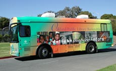 "This is the elegant Oakland Bookmobile, ""retired"" long before its time by budget cuts"