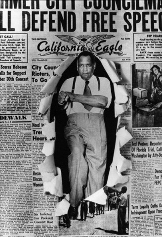 "Black Los Angeles-based photographer Howard Lee Morehead created this composite photograph of Paul Robeson bursting through the front page of the California Eagle newspaper in 1947. It was featured in a 1983-1984 exhibit at the California African American Museum in Los Angeles. The venerable California Eagle, led by Charlotta Bass from 1912 to 1951, fought against racism and police brutality and, together with other Black papers, fought for the Scottsboro Boys and the ""Don't Buy Where You Can't Work"" campaign."