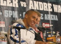 A packed post-fight press conference at the Oracle Arenas Colliers International Courtside Club saw a smiling, gracious and spiritual Andre Ward field questions and take photos with his family.  Photo: Malaika Kambon