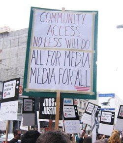 San Franciscans have struggled long and often for Community Access TV. This is a demonstration in April 2005. – Photo: Steve Rhodes